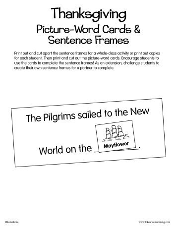 Thanksgiving Picture Word Cards Sentence Frames Lakeshore