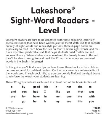 Lakeshore Sight-Word Readers - Level 1 - Lakeshore Learning ...
