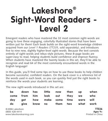 Lakeshore Sight-Word Readers - Level 2 - Lakeshore Learning ...