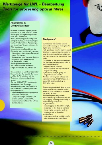 Werkzeuge für LWL - Bearbeitung Tools for processing optical fibres