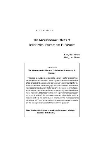 effects of dollarization in ecuador Although the exact impact of dollarization on ecuador's economic growth is  beyond the scope of this study, after dollarization, ecuador has.