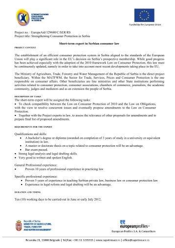 Project no. : EuropeAid/129680/C/SER/RS Project title - Lako do posla