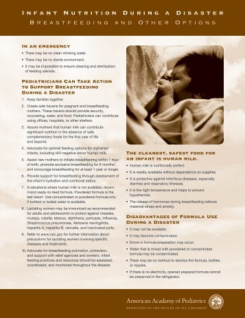 Infant Nutrition During a Disaster - American Academy of Pediatrics