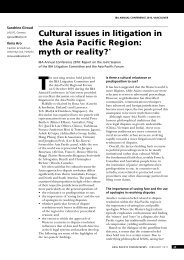Cultural issues in litigation in the Asia Pacific Region: myth ... - Lalive
