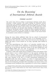 On the Reasoning of International Arbitral Awards - Lalive