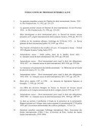 1 PUBLICATIONS DU PROFESSEUR PIERRE LALIVE 1. La ...