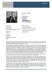 Dr. Werner JAHNEL Counsel Löwenstrasse 2 PO Box 2779 ... - Lalive