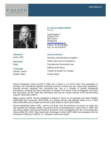 Dr. Simone NADELHOFER Counsel Löwenstrasse 2 PO ... - Lalive