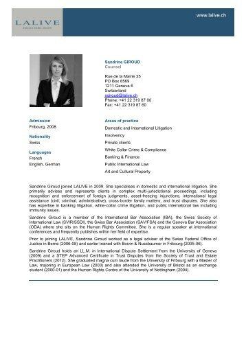 Sandrine GIROUD Associate Rue de la Mairie 35 PO Box ... - Lalive