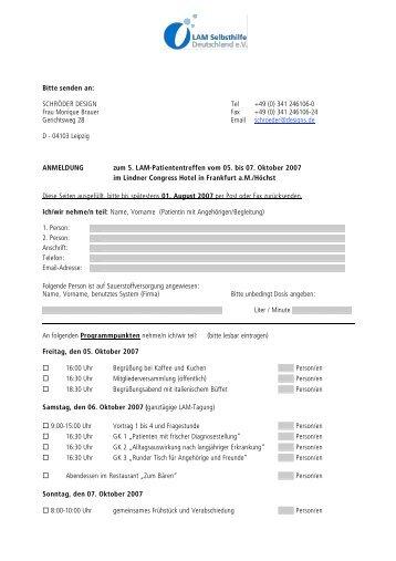 Bitte senden an: SCHRÖDER DESIGN Tel +49 (0) 341 ... - LAM-Verein