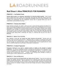 Rod Dixon's Nine PRINCIPLES FOR RUNNERS - LA Marathon