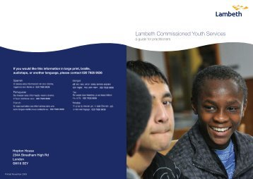 Open the Lambeth Commissioned Youth Services - Lambeth Council