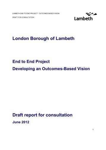 Developing an outcomes-based vision: DRAFT ... - Lambeth Council