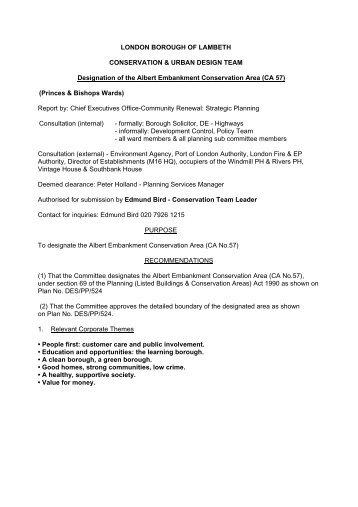 Albert Embankment Designation Report - Lambeth Council