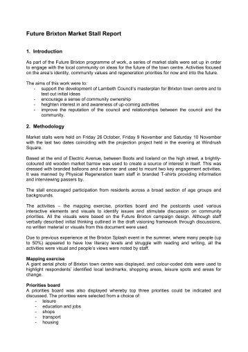 Brixton Market Stalls consultation report - Lambeth Council