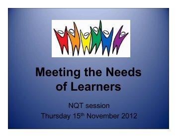 Meeting Different Needs Presentation
