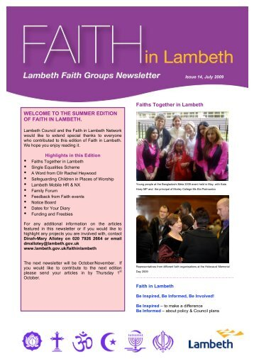 Faith in Lambeth newsletter - Issue 14 - Lambeth Council