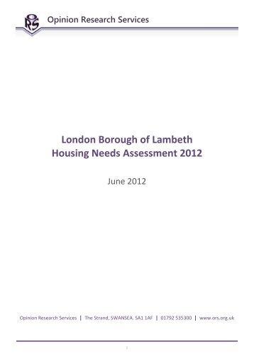 Lambeth Housing Needs Assessment 2012 - Lambeth Council