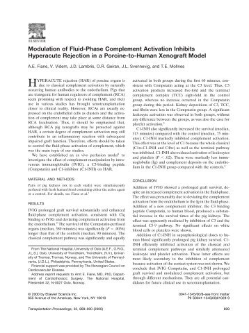 Modulation of Fluid-Phase Complement Activation Inhibits ...