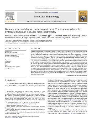 Molecular Immunology Dynamic structural ... - John D. Lambris