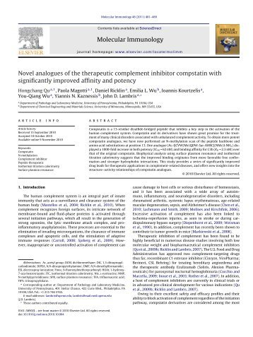 Novel analogues of the therapeutic complement ... - John D. Lambris