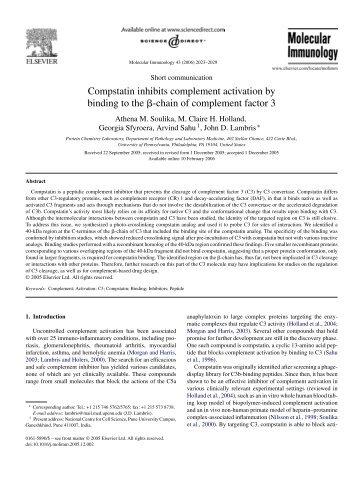 Compstatin inhibits complement activation by ... - John D. Lambris