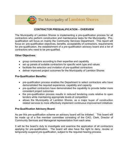 Contractor Prequalification Form (PDF) - The Municipality of