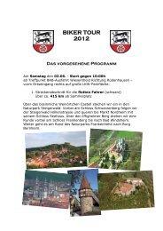 BIKER TOUR 2012 Das vorgesehene Programm - Lammis-Moto-Site