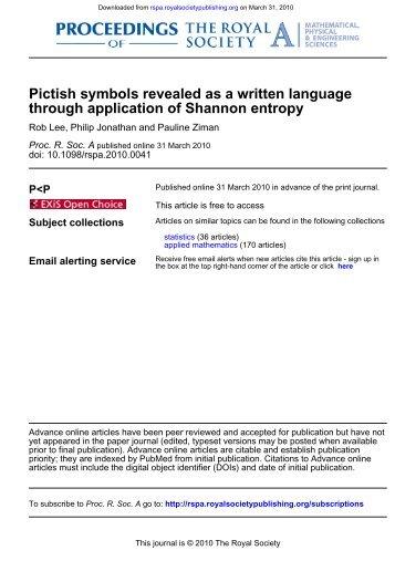 through application of Shannon entropy Pictish symbols revealed as ...