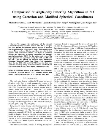 Comparison of Angle-only Filtering Algorithms in 3D using Cartesian ...