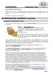 Kundeninfo September 2013 - Märkisches Landbrot
