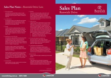 Renwick Drive Sales Plan Download - Landcom