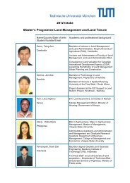 2012 Intake Master's Programme Land Management and Land Tenure