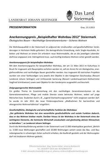 Beispielhafter Wohnbau 2012 - Landentwicklung - Steiermark