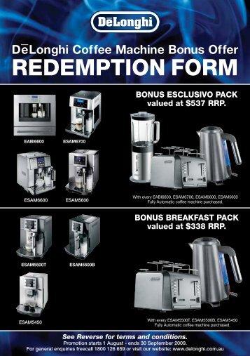 eLonghi Coffee Machine Bonus Offer - Australia