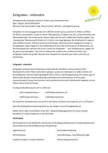 Eichgraben - mittendrin - Landentwicklung