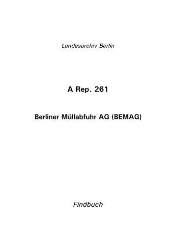 A Rep. 261; Berliner Müllabfuhr AG - Landesarchiv Berlin