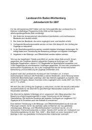 Landesarchiv Baden-Württemberg Jahresbericht für 2007