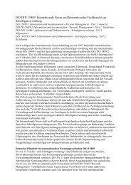 ISO DIN 15489: Internationale Norm und Internationaler Fachbericht ...