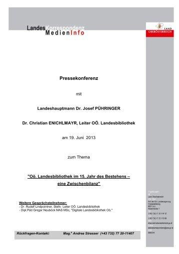 Presseaussendung (PDF-Datei, 254 KB) - Oberösterreichische ...