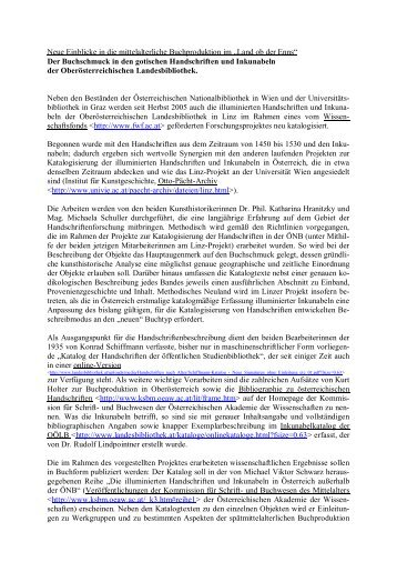 Ausführliche Informationen zu den illuminierten Handschriften