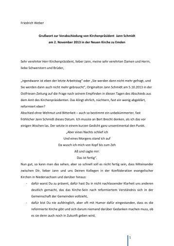 Verabschiedung von Kirchenpräsident Jann Schmidt - Evangelisch ...