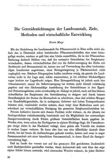 Die Getreidezüchtungen der Landesanstalt, Ziele, Methoden und ...