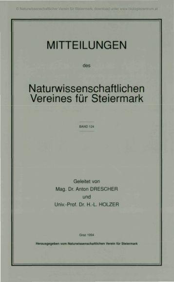 MITTEILUNGEN Naturwissenschaftlichen Vereines für Steiermark