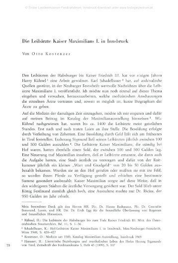 Die Leibärzte Kaiser Maximilians I. in Innsbruck