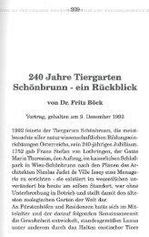 240 Jahre Tiergarten Schönbrunn - ein Rückblick