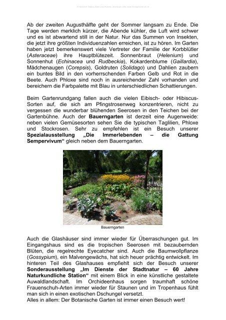 Aktuelles aus dem Botanischen Garten