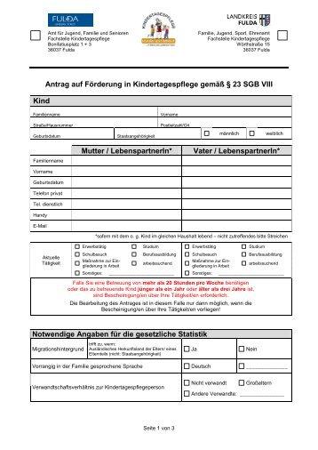Antrag auf Förderung von Kindertagespflege - Landkreis Fulda
