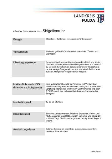 Merkblatt Shigellenruhr - Landkreis Fulda