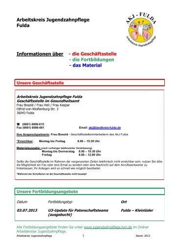 Material-Liste für Patenschaftszahnarzt-TEAMS im ... - Landkreis Fulda